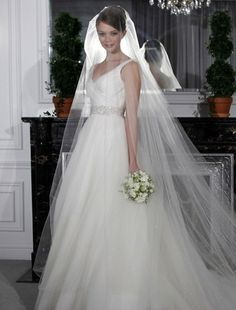 Bridal Gowns: Legends by Romona Keveza Princess/Ball Gown Wedding Dress with V-Neck Neckline and Natural Waist Waistline
