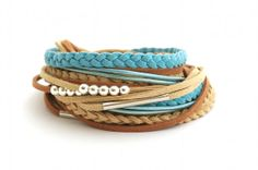 Pastel Blue and Brown Leather Wrap Bracelet