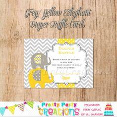 GREY/YELLOW ELEPHANT Diaper Raffle cards   by PrettyPartyCreations