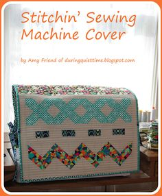 Stitchin' Sewing Machine Cover Tutorial from during quiet time for @Alexis R Taylor Gallery Fabrics #fatquartergang sewing machines, machin cover, pattern, quiet time, stitch, sew machin, sewing machine covers, cover tutori, place mats