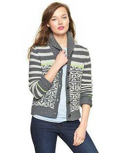 Fair Isle stripe shawl cardigan | Gap