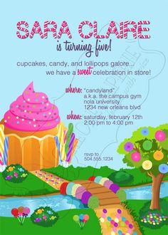 Candyland birthday party invitation for Meryssa's 7th birthday!