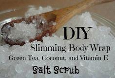 DIY Slimming Body Wrap Green Tea, Coconut   Vitamin E Salt Scrub (All natural)