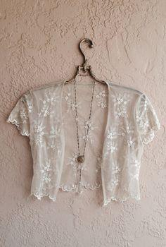 Sheer lace shrug crop top