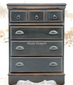 For Sale - Tall dresser painted in black and sealed in dark wax.  This piece is available in the Shizzle Design (sold)  More information and photos available at: http://alittlebitoshizzle.blogspot.com/p/pieces-for-sale.html