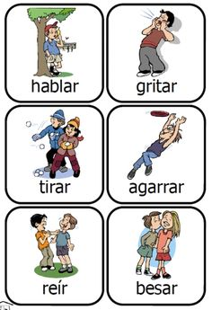 Spanish verb cards and word list -- Action Kids activity set from PrintableSpanish.com