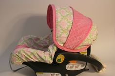 Ships TODAY- Pink Lime  Damask- Infant Chicco Car Seat Cover with Matching Handle Cover-  Ready to ship FREE shipping. $70.00, via Etsy.