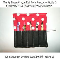 party favor  Minnie Mouse Crayon Roll Party Favour by MrsCraftyRVing on Etsy, $2.00
