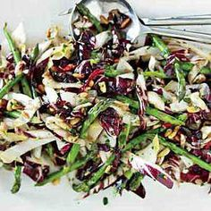 Wilted Radicchio, Edive and Asparagus Salad