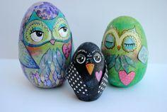Owl Painted Rocks egg shape, owl egg, rock paint, egg paint, painted rocks, paint rock, owl paint