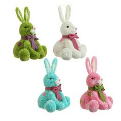 "RAZ Sitting Bunny  4 Assorted Colors - Priced Individually Made of Polyfoam Measures 8.5"" X 8.5"" X 7.5""   RAZ Exclusive design from the Happy Easter Collection    #raz #trendytree #easter"