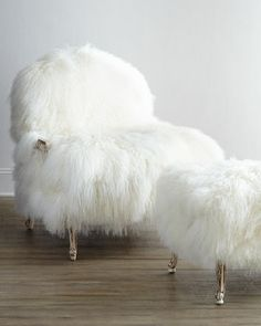 Worthen Sheepskin Chair & Ottoman by NM EXCLUSIVE at Horchow.