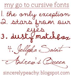 Sincerely Peachy: Free Font Friday: Cursive