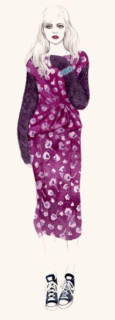 Nina Ricci dress with chuck taylor. Teri Chung.