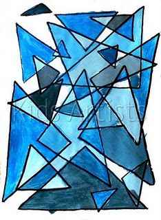Monochromatic painting with geometric shapes
