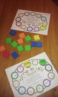 klok lezen spel books, games, telling time, math centers, time game, teaching time, student work, game boards, cards