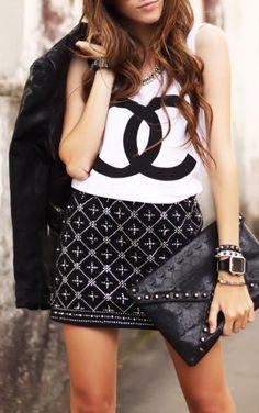 Chanel Tee w/a Cross Embroidery Skirt <3 L.O.V.E.
