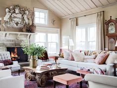 sarah richardson, coffee tables, fireplac, colors, family rooms