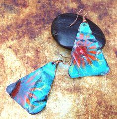 christensenstudio, triangl earring, copper enamel, enamel triangl