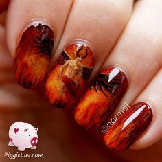 PiggieLuv: Hell god (with a six pack) nail art