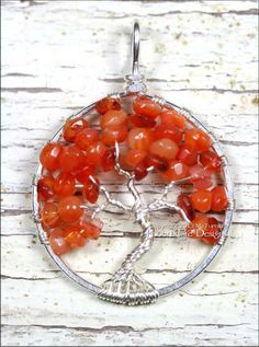 Autumn Tree of Life Red (Orange) Carnelian Gemstone in Silver by PhoenixFireDesigns for $60.00