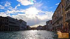 Sun Shines on The Grand Canal in Venice Italy