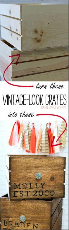 Vintage Look Crates: