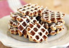 Oatmeal-Bacon Waffle Cookies with Espresso Glaze