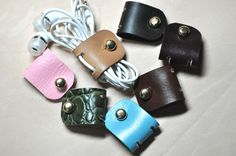 Personalized Leather Earphone holder  Earbud wrap  by MJKMADE, $11.20
