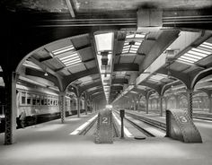 "Circa 1911. ""Train sheds, Chicago & North Western Railway station."""