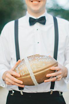 a football for the garter toss