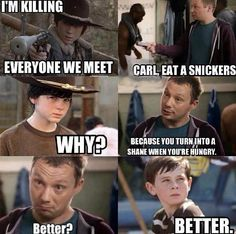 Carl needs to eat a Snickers