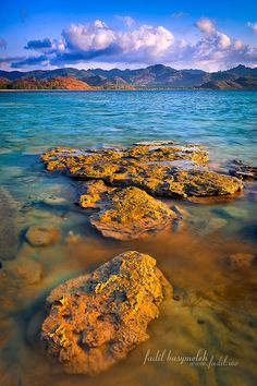 ~~Scattered Stone, Somewhere Near Sekotong Lombok Indonesia ~ golden rocks, blue water by Fadil Basymeleh~~