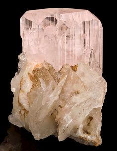 Pink Danburite crystals with Calcite blades #minerals #rocks #crystal