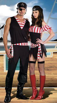 2013 homem e mulheres pirata traje para halloween, fantasias de carnaval para os amantes de uniformes& roupas