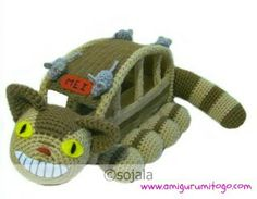 Cat Bus By Sharon Ojala - Free Crochet Pattern - The Cat Bus Passenger Is Blue Tortoro - See Link To Blue Tortoro - http://www.amigurumitogo.com/2013/02/blue-totoro.html - (amigurumitogo)