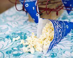 bandana paper cones for popcorn, nuts, treats, and ice cream