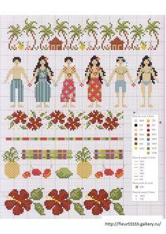 hawaiian cross stitch, crossstitch, bordado, cross stitch charts, punto de, beach, cross stitch flower border, de cruz, cross stitches