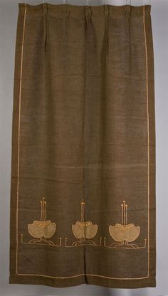 Gustav Stickley (1858-1942) -  Portieres. Overlayed and Embroidered Linen. Circa 1910.