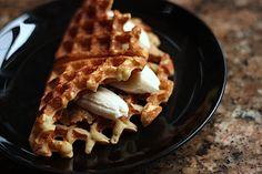Peanut butter-banana-quinoa-waffle sandwich