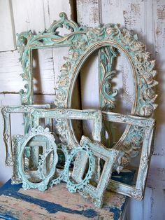 Aqua white ornate frame grouping- vintage antique mix