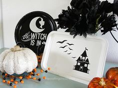 holiday, halloween plate, halloween platter, painted plates, silhouett cameo, silver platter, black white, decorative plates, halloween diy