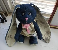 recycl craft, denim toy, recycle crafts, blue jean, toy rabbit, old jeans, kids toys