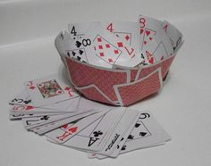 bowl made of playing cards. Fun for a card party!