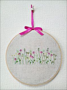 Embroidery wall art Fower Garden