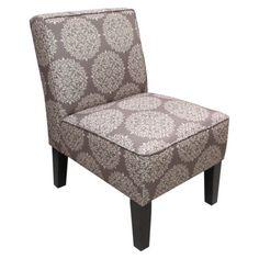 Armless Upholstered Slipper Accent Chair-Grey Medallion