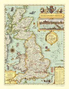 Amazon.com: Map of Shakespeare's Britain Education Poster Print, 21x27: Home & Kitchen