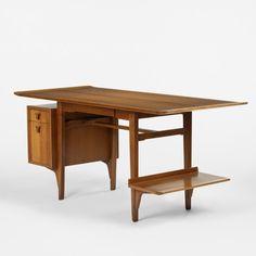 Edward Wormley desk, model 5735 Dunbar USA, 1957 mahogany, brass 63 w x 28 d x 29 h inches Signed with gold rectangular manufacturer's label: [Dunbar Berne, Indiana]. s8