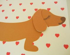 Valentine BBQ the Dachshund Doxie Hearts Note Card with by Cuore, $4.50