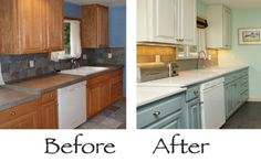 Painting Kitchen Cabinets Before and After.  I like the white cabinets at the top and light green at the bottom.
